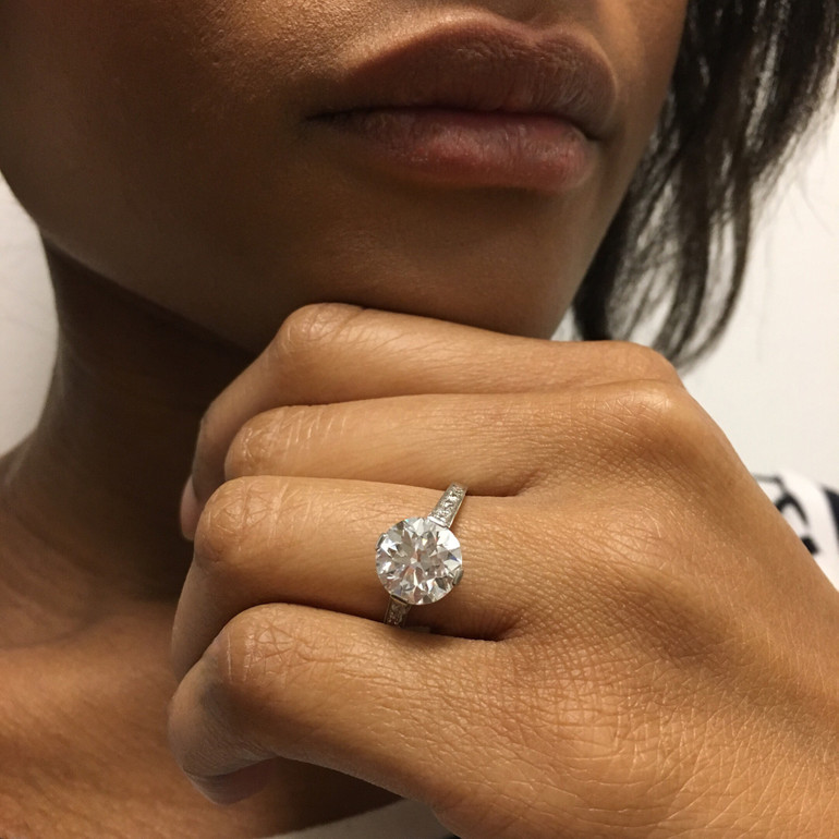 Vintage Tiffany Platinum Round Brilliant Cut Diamond Ring