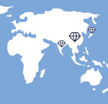 World Map Diamonds